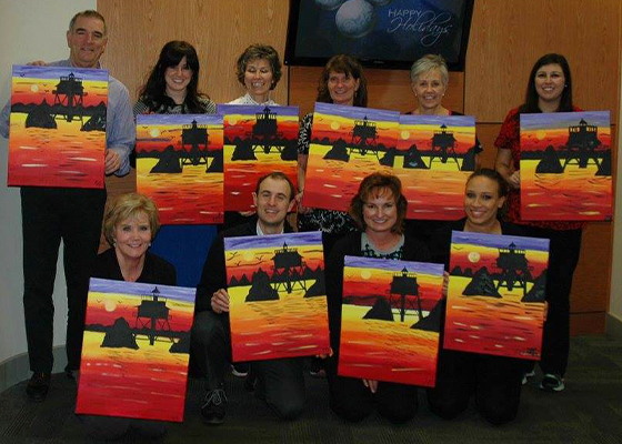 team with paintings